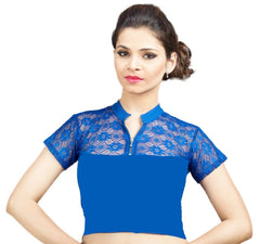 Royal Blue Color Cotton Lycra Stretchable Party Wear Blouses (32,34,36): Kshitija Collection  YF-41807