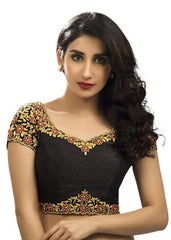 black Color Dupion Silk Readymade Function Wear Blouses ( Sizes - 32, 34, 36, 38, 40, 42 ): Samita Collection  YF-38586
