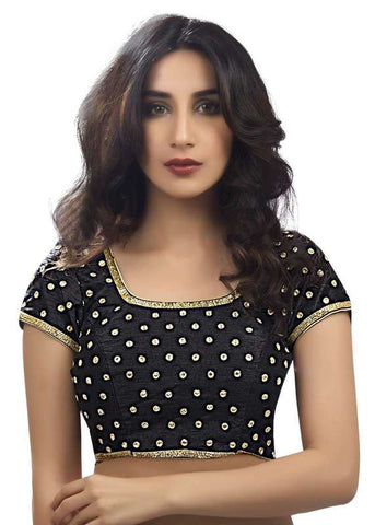 black Color Dupion Silk Readymade Function Wear Blouses ( Sizes - 32, 34, 36, 38, 40, 42 ): Samita Collection  YF-38592