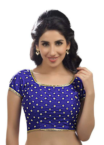 royal-blue Color Dupion Silk Readymade Function Wear Blouses ( Sizes - 32, 34, 36, 38, 40, 42 ): Samita Collection  YF-38604