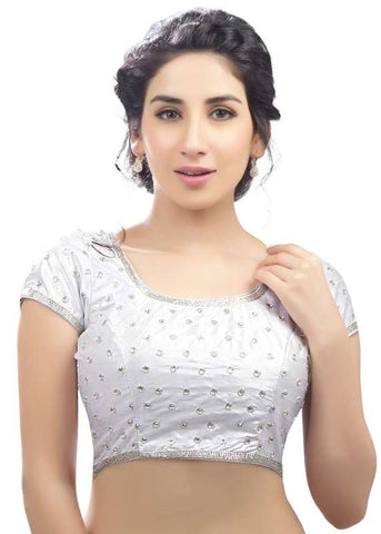silver Color Dupion Silk Readymade Function Wear Blouses ( Sizes - 32, 34, 36, 38, 40, 42 ): Samita Collection  YF-38610