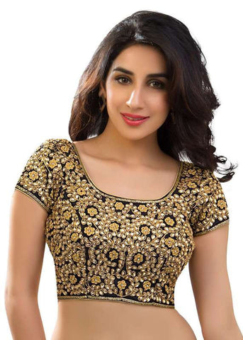 black Color Dupion Silk Readymade Function Wear Blouses ( Sizes - 32, 34, 36, 38, 40, 42 ): Samita Collection  YF-38616