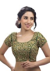 green Color Dupion Silk Readymade Function Wear Blouses ( Sizes - 32, 34, 36, 38, 40, 42 ): Samita Collection  YF-38628