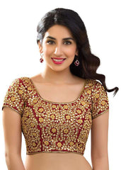 maroon Color Dupion Silk Readymade Function Wear Blouses ( Sizes - 32, 34, 36, 38, 40, 42 ): Samita Collection  YF-38634