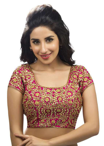 pink Color Dupion Silk Readymade Function Wear Blouses ( Sizes - 32, 34, 36, 38, 40, 42 ): Samita Collection  YF-38640