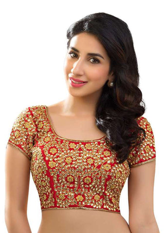 red Color Dupion Silk Readymade Function Wear Blouses ( Sizes - 32, 34, 36, 38, 40, 42 ): Samita Collection  YF-38646