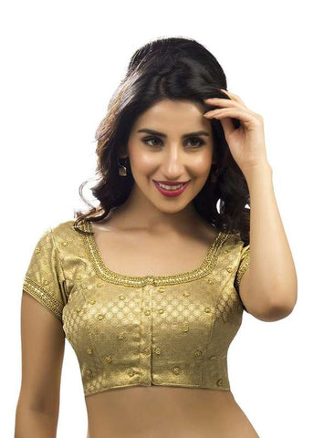 gold Color Brocade Readymade Function Wear Blouses ( Sizes - 32, 34, 36, 38, 40, 42 ): Samita Collection  YF-38652