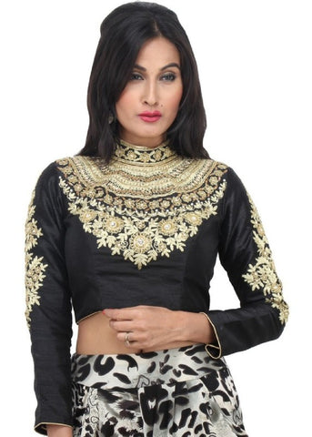black Color Dupion Silk Readymade Function Wear Blouses ( Sizes - 32, 34, 36, 38, 40, 42 ): Samita Collection  YF-38658