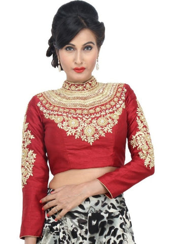 maroon Color Dupion Silk Readymade Function Wear Blouses ( Sizes - 32, 34, 36, 38, 40, 42 ): Samita Collection  YF-38664