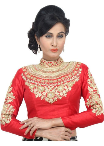red Color Dupion Silk Readymade Function Wear Blouses ( Sizes - 32, 34, 36, 38, 40, 42 ): Samita Collection  YF-38670