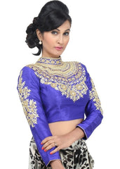 royal-blue Color Dupion Silk Readymade Function Wear Blouses ( Sizes - 32, 34, 36, 38, 40, 42 ): Samita Collection  YF-38676