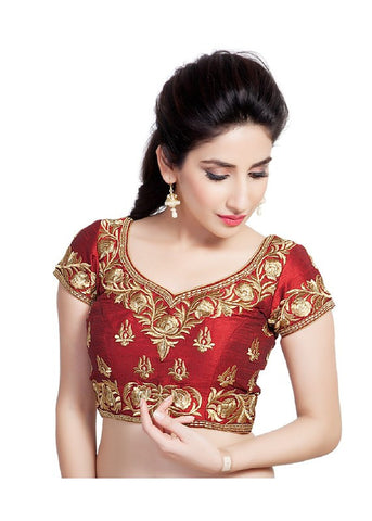maroon Color Dupion Silk Readymade Function Wear Blouses ( Sizes - 32, 34, 36, 38, 40, 42 ): Samita Collection  YF-38694