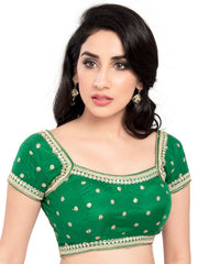 Green Color Net Readymade Party Wear Blouses (32,34,36,38,40,42): Safeena Collection  YF-51093