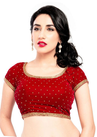 red Color Velvet Readymade Function Wear Blouses ( Sizes - 32, 34, 36, 38, 40, 42 ): Samita Collection  YF-38706