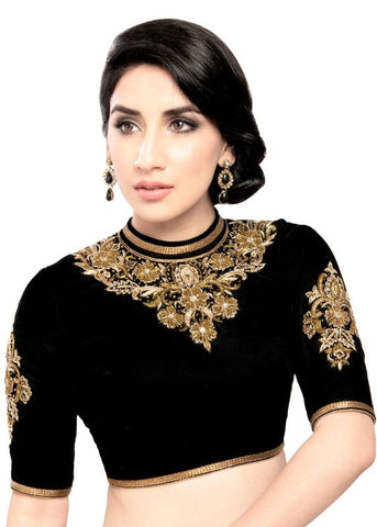 black Color Velvet Readymade Function Wear Blouses ( Sizes - 32, 34, 36, 38, 40, 42 ): Samita Collection  YF-38712