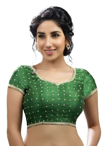 green Color Dupion Silk Readymade Function Wear Blouses ( Sizes - 32, 34, 36, 38, 40, 42 ): Samita Collection  YF-38724