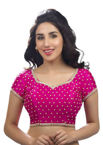 pink Color Dupion Silk Readymade Function Wear Blouses ( Sizes - 32, 34, 36, 38, 40, 42 ): Samita Collection  YF-38730