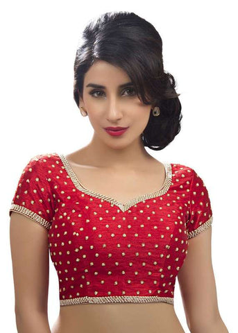 red Color Dupion Silk Readymade Function Wear Blouses ( Sizes - 32, 34, 36, 38, 40, 42 ): Samita Collection  YF-38736