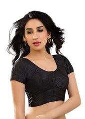 black Color Dupion Silk Readymade Function Wear Blouses ( Sizes - 32, 34, 36, 38, 40, 42 ): Samita Collection  YF-38748