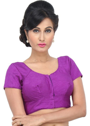 brinjal Color Dupion Silk Readymade Function Wear Blouses ( Sizes - 32, 34, 36, 38, 40, 42 ): Samita Collection  YF-38754