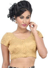 gold Color Brocade Readymade Function Wear Blouses ( Sizes - 32, 34, 36, 38, 40, 42 ): Samita Collection  YF-38802
