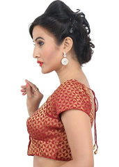 maroon Color Brocade Readymade Function Wear Blouses ( Sizes - 32, 34, 36, 38, 40, 42 ): Samita Collection  YF-38808