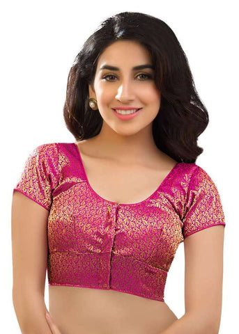 pink Color Brocade Readymade Function Wear Blouses ( Sizes - 32, 34, 36, 38, 40, 42 ): Samita Collection  YF-38814