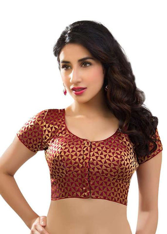 maroon Color Brocade Readymade Function Wear Blouses ( Sizes - 32, 34, 36, 38, 40, 42 ): Samita Collection  YF-38826