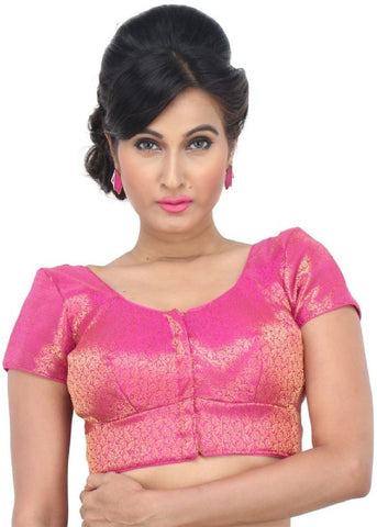 pink Color Brocade Readymade Function Wear Blouses ( Sizes - 32, 34, 36, 38, 40, 42 ): Samita Collection  YF-38832
