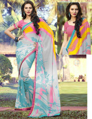 sky Blue And Pink Color Georgette Casual Wear Sarees : Prakshani Collection  YF-25169