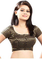 black Color Brocade Readymade Function Wear Blouses ( Sizes - 32, 34, 36, 38, 40, 42 ): Samita Collection  YF-38844