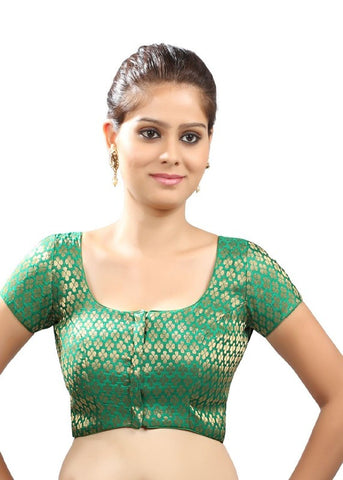 green Color Brocade Readymade Function Wear Blouses ( Sizes - 32, 34, 36, 38, 40, 42 ): Samita Collection  YF-38856