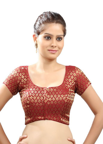 maroon Color Brocade Readymade Function Wear Blouses ( Sizes - 32, 34, 36, 38, 40, 42 ): Samita Collection  YF-38862