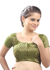 mehandi-green Color Brocade Readymade Function Wear Blouses ( Sizes - 32, 34, 36, 38, 40, 42 ): Samita Collection  YF-38868