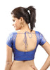 royal-blue Color Brocade Readymade Function Wear Blouses ( Sizes - 32, 34, 36, 38, 40, 42 ): Samita Collection  YF-38892