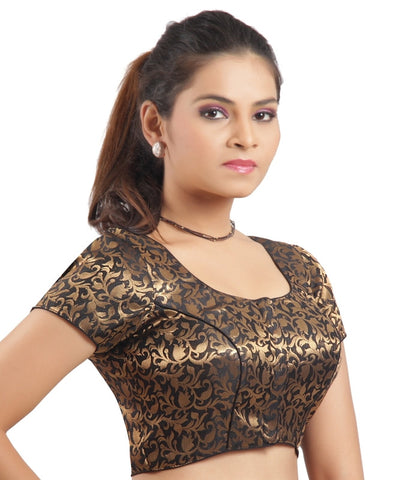 Black Color Brocade Readymade Padded Blouses (32,34,36,38,40,42): Shriday Collection  YF-42857