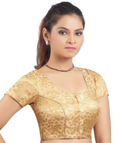 Gold Color Brocade Readymade Padded Blouses (32,34,36,38,40,42): Shriday Collection  YF-42863
