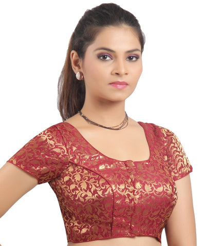 Maroon Color Brocade Readymade Padded Blouses (32,34,36,38,40,42): Shriday Collection  YF-42869