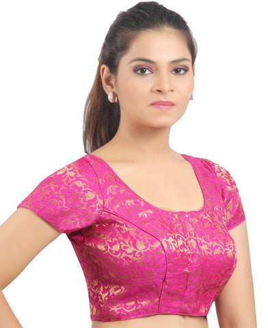 Pink Color Brocade Readymade Padded Blouses (32,34,36,38,40,42): Shriday Collection  YF-42875