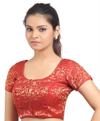 Red Color Brocade Readymade Padded Blouses (32,34,36,38,40,42): Shriday Collection  YF-42881