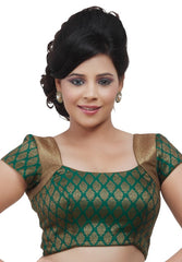 Green Color Brocade Readymade Party Wear Blouses (32,34,36,38,40,42): Safeena Collection  YF-51099