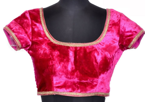 Pink Color Velvet Readymade Party Wear Blouses (32,34,36,38,40,42): Safeena Collection  YF-51165