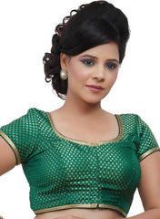 Green Color Brocade Readymade Party Wear Blouses (32,34,36,38,40,42): Safeena Collection  YF-51201
