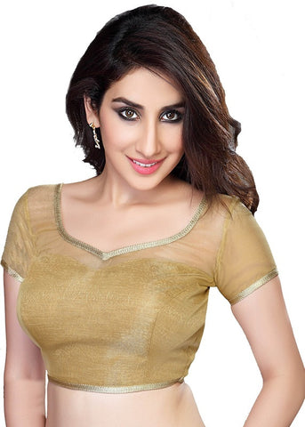 gold Color Net Readymade Function Wear Blouses ( Sizes - 32, 34, 36, 38, 40, 42 ): Samita Collection  YF-38904
