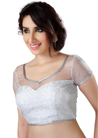 silver Color Net Readymade Function Wear Blouses ( Sizes - 32, 34, 36, 38, 40, 42 ): Samita Collection  YF-38910