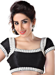 Black & Silver Color Brocade Readymade Party Wear Blouses (32,34,36,38,40,42): Safeena Collection  YF-51213