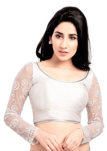 silver Color Fancy Readymade Function Wear Blouses ( Sizes - 32, 34, 36, 38, 40, 42 ): Samita Collection  YF-38934