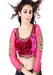 Pink Color Velvet Readymade Party Wear Blouses (32,34,36,38,40,42): Safeena Collection  YF-51219