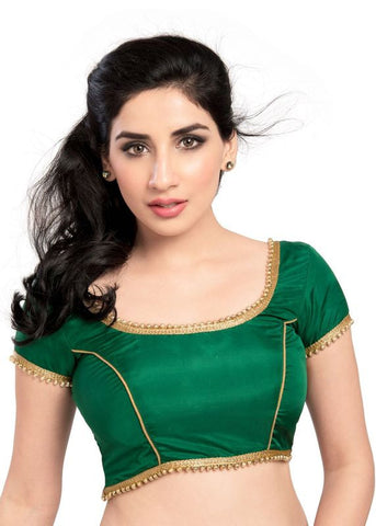 green Color Silk Readymade Function Wear Blouses ( Sizes - 32, 34, 36, 38, 40, 42 ): Samita Collection  YF-38940