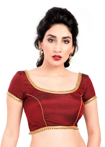 maroon Color Silk Readymade Function Wear Blouses ( Sizes - 32, 34, 36, 38, 40, 42 ): Samita Collection  YF-38946